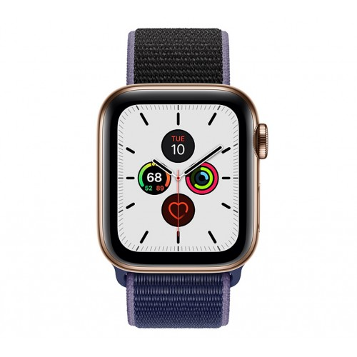 Apple Watch Series 5 (GPS+CELLULAR) 44mm Gold Stainless Steel Case with Sport Loop Midnight Blue