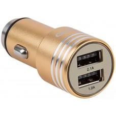 Автомобильное зарядное устройство GOLF GF-C06 Car charger 2USB 2.1A Gold