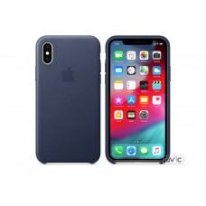 Чехол для Apple iPhone XS Leather Case Midnight Blue Copy