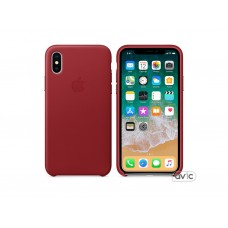 Чехол для Apple iPhone X Leather Case PRODUCT RED (MQTE2)
