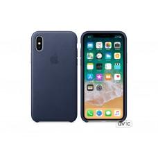 Чехол для Apple iPhone X Leather Case Midnight Blue (MQTC2)