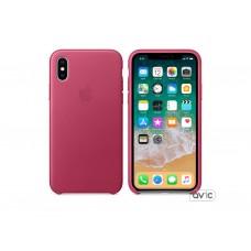 Чехол для Apple iPhone X Leather Case Pink Fuchsia (MQTJ2)