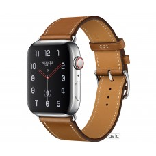 Apple Watch Hermes Series 4 (GPS + Cellular) 44mm Stainless Steel Case with Fauve Barenia Leather Single Tour (MU6V2)