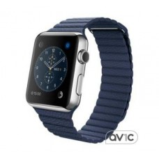 Apple Watch 42mm Stainless Steel Case with Midnight Blue Leather Loop (MLFD2) Large