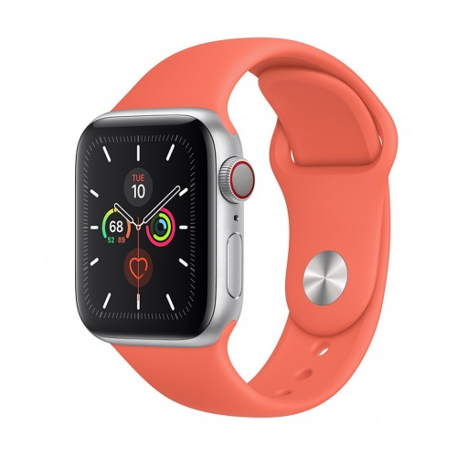 Apple Watch Series 5 (GPS+CELLULAR) 44mm Silver Aluminum Case with Sport Band Clementine