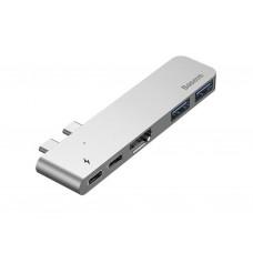 Адаптер Baseus Thunderbolt C-Dual Type-C to USB3.0/HDMI/Type-C Gray