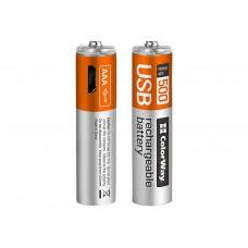 Аккумулятор ColorWay AAA 400mAh Li-Pol 2шт USB (CW-UBAAA-01)